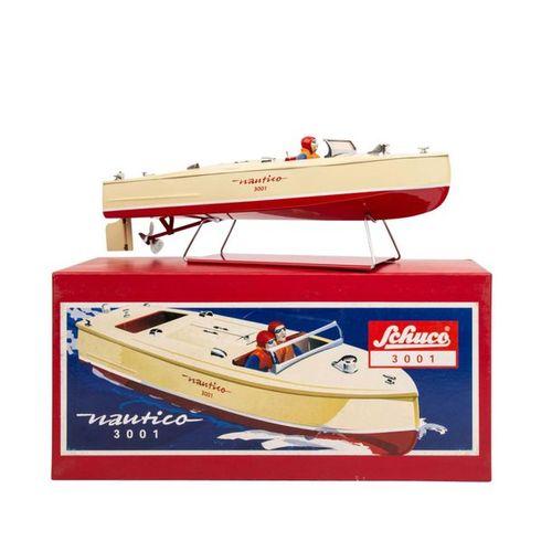 "SCHUCO Rennboot ""Nautico"" 3001, SCHUCO race boat ""Nautico"" 3001, beige lacquered…"