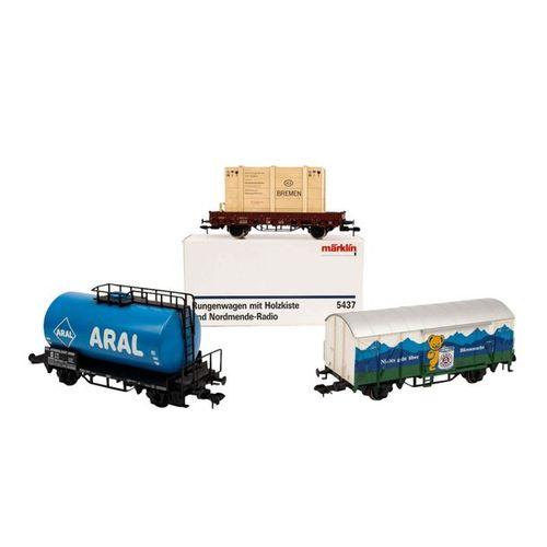 MÄRKLIN 3 tlg Konvolut Güterwagen, Spur 1, MÄRKLIN 3 part convolute freight cars…