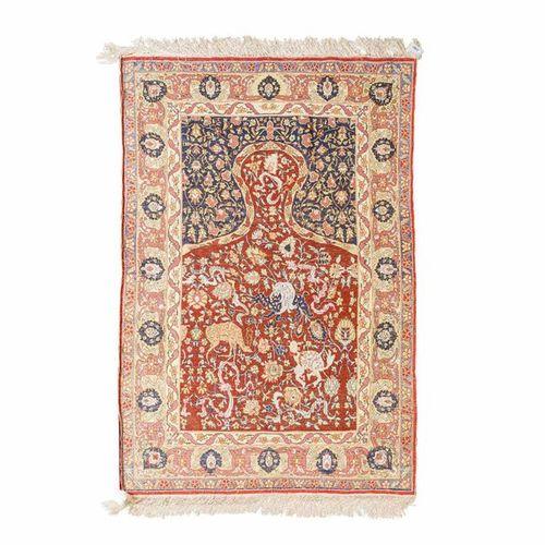 Orientteppich aus Seide. 20. Jh., 146x94 cm. Oriental silken rug, 20th ct. 146x9…