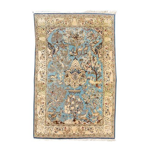 Orientteppich mit Seide. PERSIEN, 20. Jh., 215x137 cm. Oriental Persian rug with…
