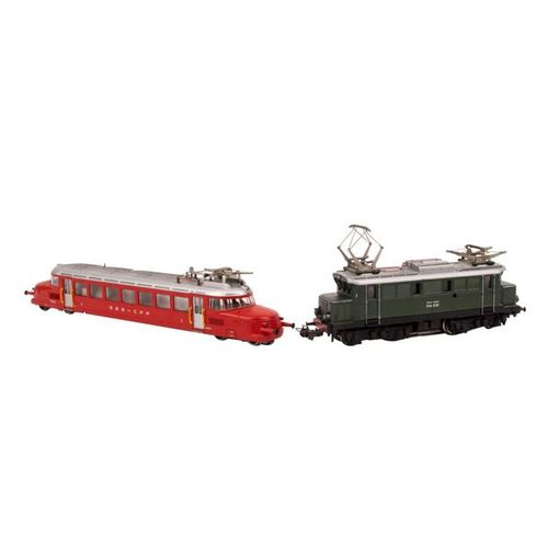 MÄRKLIN/HAMO zwei E Lokomotiven, Spur H0, MÄRKLIN/HAMO two e locomotives, track …