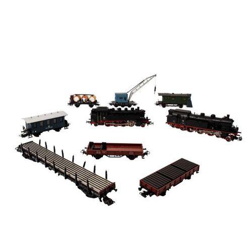 MÄRKLIN Konvolut zweier Tenderlokomotiven und 7 Güterwagen, Spur H0, MÄRKLIN con…