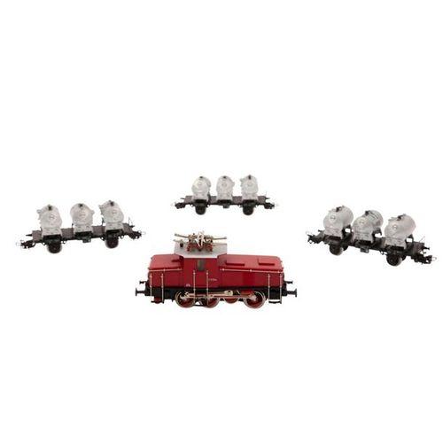 MÄRKLIN Zugset E Lok mit 3 Behälterwagen, Spur H0, MÄRKLIN train set e loco with…