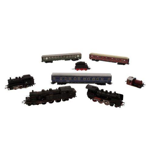 MÄRKLIN/BRAWA 7 tlg Konvolut Lokomotiven und Personenwagen, Spur H 0, MÄRKLIN/BR…