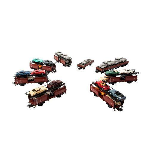 MÄRKLIN/WIKING 8 tlg Konvolut Autotransportwagen mit Beladung, Spur H0, MÄRKLIN/…