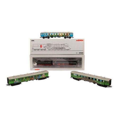 MÄRKLIN Stromlinienlok 37080 mit 3 Personenwagen, Spur H0, MÄRKLIN streamlined l…