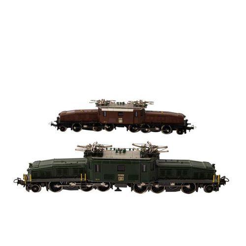 """MÄRKLIN zwei E Lokomotiven """"Krokodil"""" der SBB, Spur H0, MÄRKLIN two E locomotive…"""