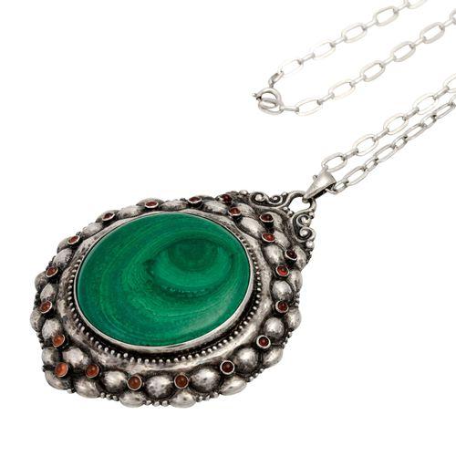 Jugendstil Anhänger mit rundem Malachit Art Nouveau pendant with round malachite…