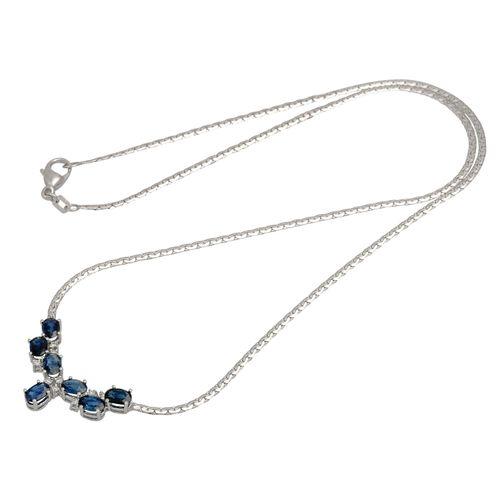 Collier mit 7 Saphiren und 9 Achtkantdiamanten Necklace with 7 sapphires and 9 s…
