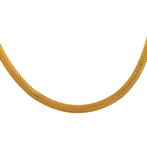 Feines Strickcollier Knit necklace with bayonet clasp in 18K YG, 30.5 gr, hollow…
