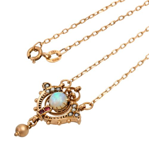 Collier mit grün schillerndem Opal, Necklace with greenish opal, small seed pear…