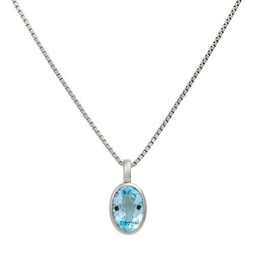 Anhänger mit Blautopas an Venezianerkette, Pendant with blue topaz with necklace…