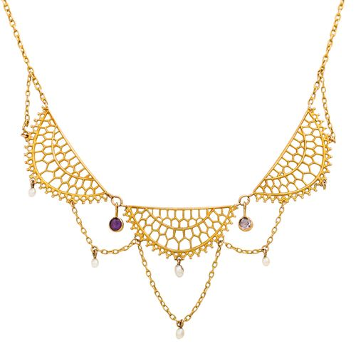 Jugendstil Collier mit Amethysten Art Nouveau necklace with amethysts and small …