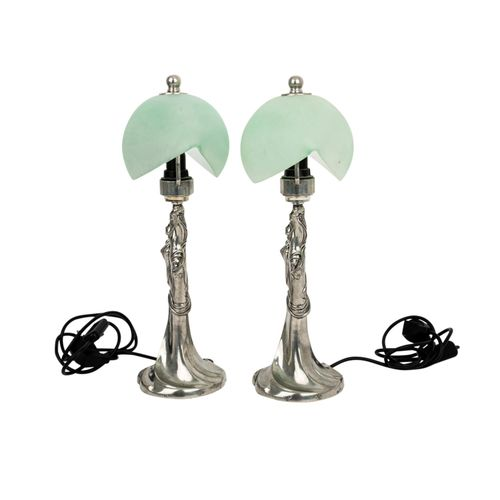 PAAR TISCHLAMPEN IN DER ART DES JUGENDSTILS, PAIR OF TABLE LAMPS IN ART NOUVEAU …