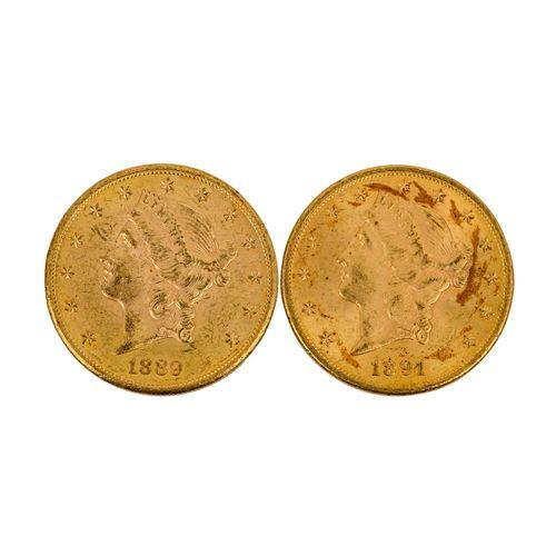 USA / GOLD 2 x 20 Dollars 1889/S; 1891/S, USA / GOLD 2 x 20 dollars 1889/S; 1891…