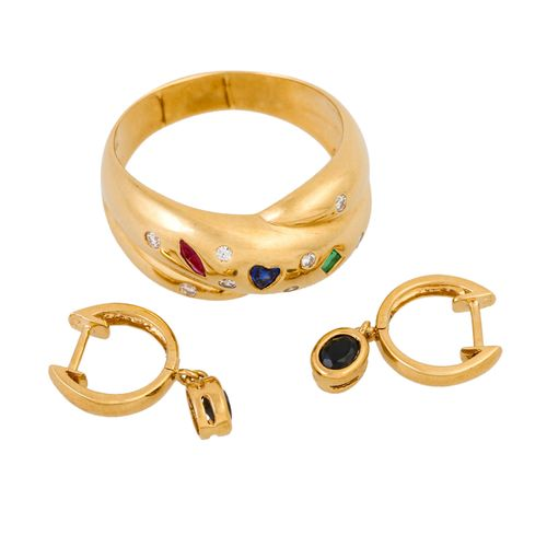 Schmuckkonvolut 2 teilig, 2 piece dealer's lot, 18K yellow gold, 9 g, consisting…