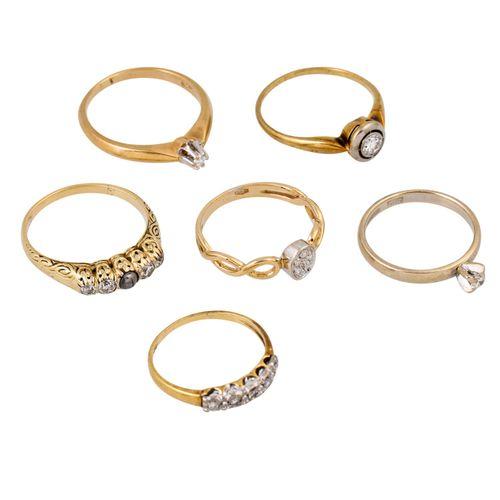 Schmuckkonvolut 6 teilig, 6 piece dealer's lot, 14K yellow gold, 14,7 g, consist…