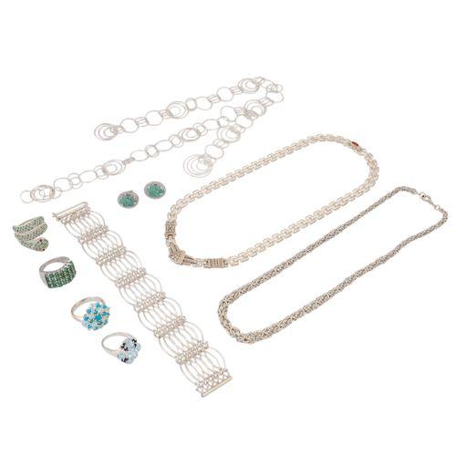 Schmuckkonvolut 9 teilig, 9 piece dealer's lot, silver, 125 g, consisting of 1 p…