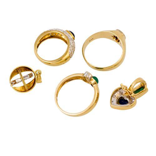 Schmuckkonvolut 5 teilig, 5 piece dealer's lot, 14K yellow and white gold, 18.1 …
