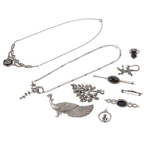 Schmuckkonvolut 10 teilig, 10 piece dealer's lot, silver, 72 g, consisting of 6 …