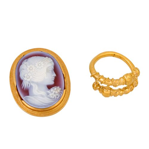 Schmuckkonvolut 2 teilig, 2 piece dealer's lot, 18K yellow gold, 22.2 g, consist…