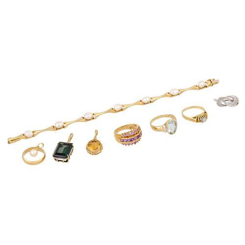 Schmuckkonvolut 9 teilig, 9 piece dealer's lot, 14K yellow and white gold, 52,6 …