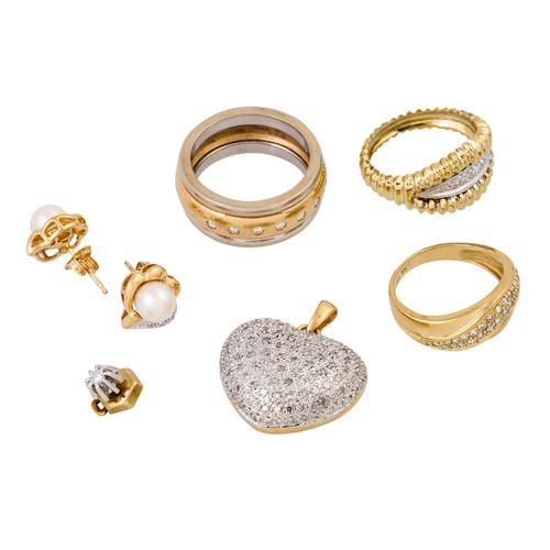 Schmuckkonvolut 6 teilig, 6 piece dealer's lot, 14K yellow and white gold, 33.4 …