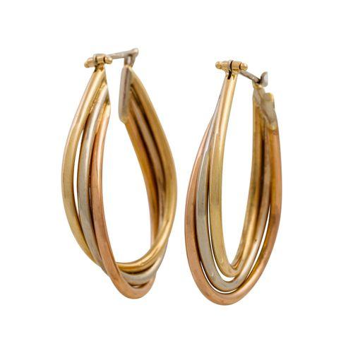 Paar Creolen GG/WG/RG 14K, Pair of hoop earrings 14K YG/WG/RG, 6,5 g. L: ca. 3,8…