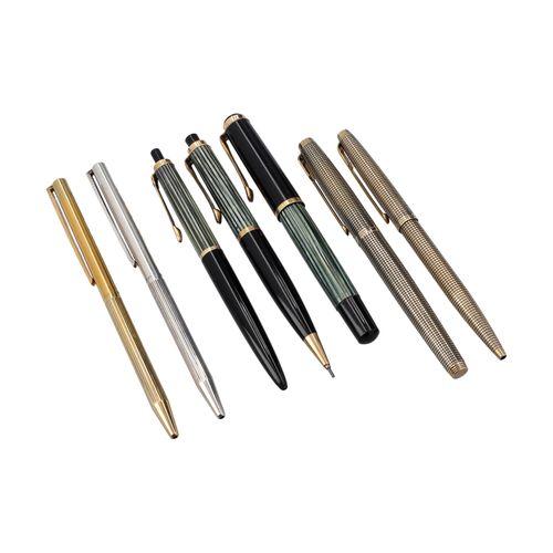 VINTAGE Schreibgeräte Konvolut. 复古的书写套装。3x PELIKAN(伸缩式圆珠笔455,机械铅笔450,钢笔400)。2个PA…