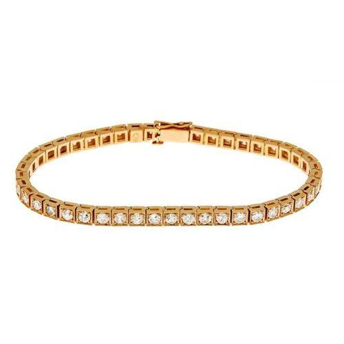 Old European cut diamond bracelet RG 585/000 (Russia 56 hallmarked) with 46 old …