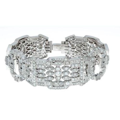 Old European cut diamond bracelet WG 750/000 (Russia 72 hallmarked) with 448 old…