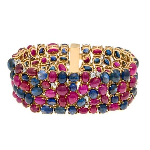 Ruby sapphire bracelet RG 750/000 handcraft with 53 ruby cabochons, total 85.91 …