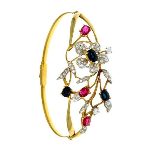 Ruby sapphire brilliant bangle GG 750/000 with 3 oval fac.Rubies 5.5 4.8 x 4.3 4…