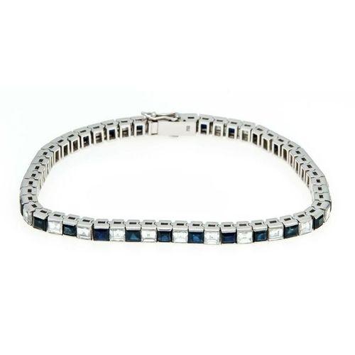Sapphire diamond bracelet WG 750/000 with 27 square shaped fac. Sapphires 3 x 3 …