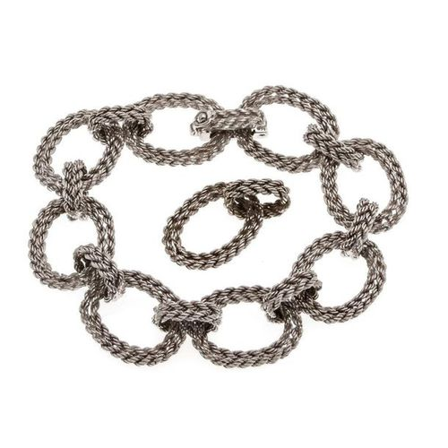 Bracelet WG 750/000 box clasp with SI figure eight, with extra link, length 18 (…