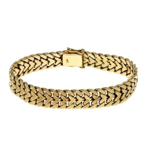 Link bracelet GG 585/000 box clasp with 2 SI eights, length 17.6 cm, 41.5 g