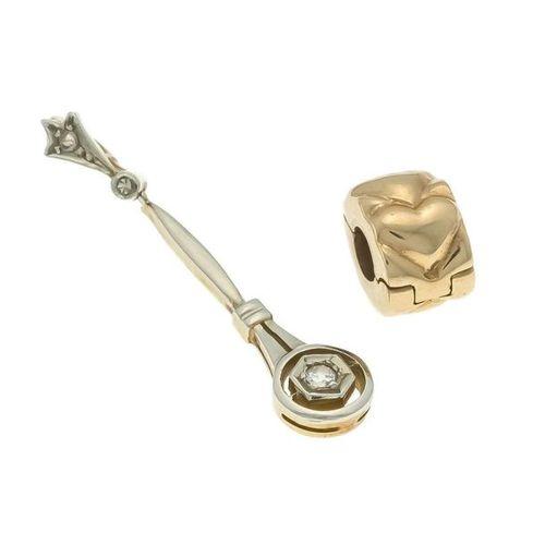 Art Deco diamond pendant GG / WG 585/000 with a diamond 0.02 ct slightly tinted …