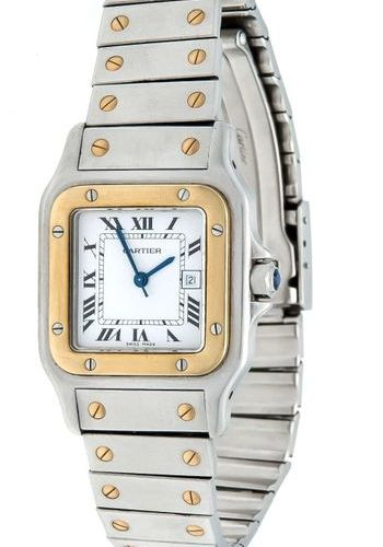 Cartier Santos, steel/gold, men's wrist watch automatic, white dial with roman n…