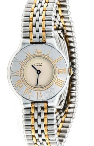 Cartier 21, ladies quartz watch from 1993, steel/partially gold plated, white di…