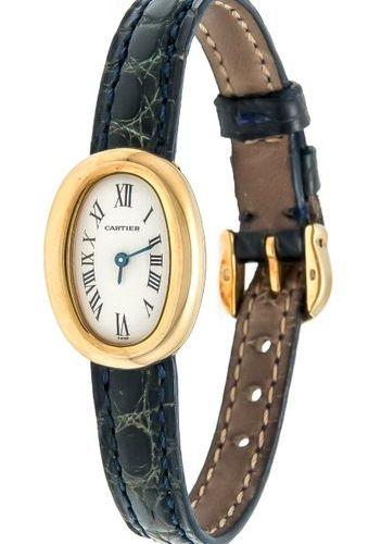 Cartier GG 750/000, ladies quartz watch Mod. Baignoire Ref. 1960, hand adjustmen…