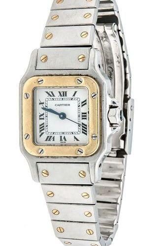 Cartier ladies bracelet watch steel/gold GG 750/000, Santos, crown with blue sto…