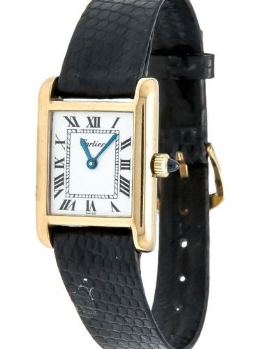Cartier tank silver gold plated, manual winding, crown with blue stone, white di…