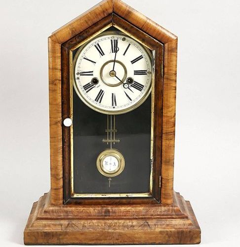 Walnut table clock with regulator movement, glass held by gilded trim, 1/2 hour …