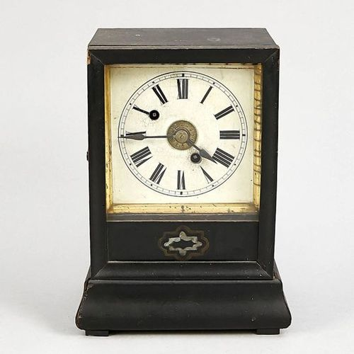 Table clock wood black with alarm movement on bell, around 1900, movement starts…