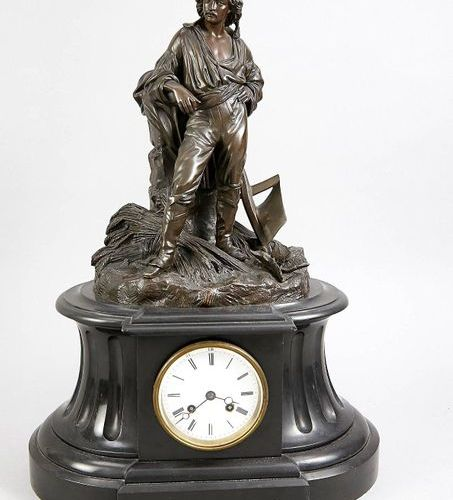 Figure chimney clock, 2nd half 19th c., bronze, depicted is a farmer with plow, …