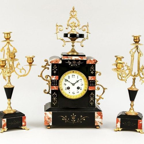 3 piece marble mantel clock, red brown grey/black, with gold filigree engraving,…