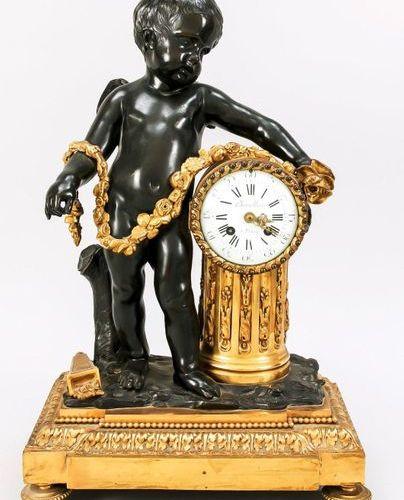 Large french figure pendulum. Figural pendulum, 2nd half of 19th c., burnished b…