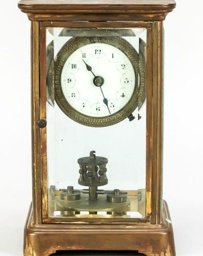 Glass pendulum year clock, end of 19th century, with remaining gilding, all side…