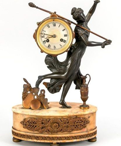 French. Figure pendulum, woman carrying a drum with a staff, white cast bronze, …