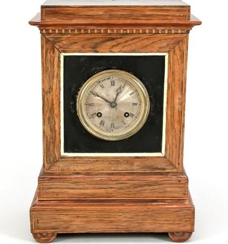 Table clock walnut wood with thread inlays, 1st half 19th c., guilloche silvered…